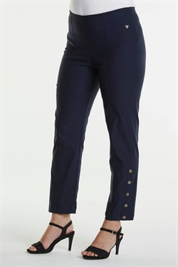 Laurie EMMA jeans 7/8 med pynteknapper i farven NAVY, pasform REGULAR, model Polly
