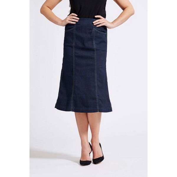 LauRie Gusti medium DARK BLUE DENIM nederdel med lommer, model 54412.